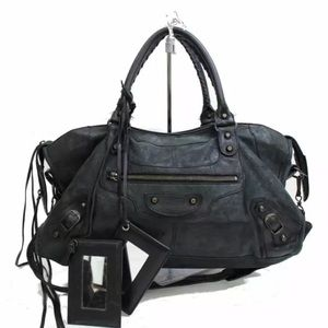 BALENCIAGA Giant City Black Distressed Leather Bag